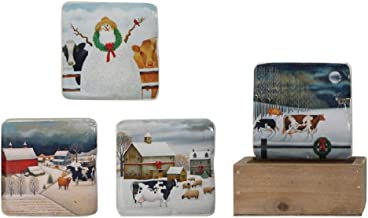 Winter Farmhouse Cows Holiday Coasters with Wooden Holder