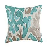 CaliTime High Class Throw Pillow Cover Case for Couch Sofa Home Decoration Vintage Ikat Style Applique Embroidered 18 X 18 Inches Teal & Light Taupe