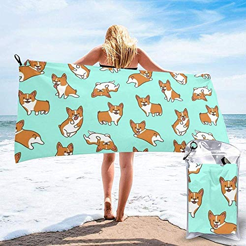 Quick Dry Beach Towel Corgi Cute Dog Printed Microfiber Lightweight Bath Towels Suitable For Household Children And Adults Camping Swimming Yoga-31.5'X63'