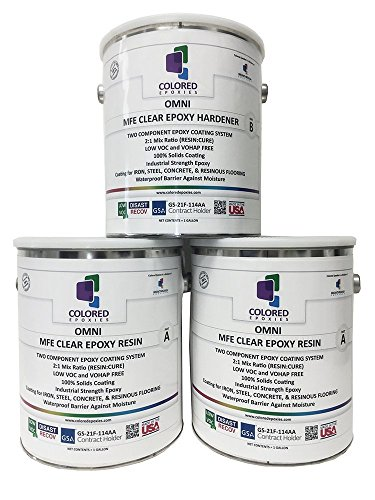 Coloredepoxies 10002 Clear Epoxy Resin Coating 100% Solids, High Gloss For Garage Floors, Basements, Concrete and Plywood. 3 Gallon Kit