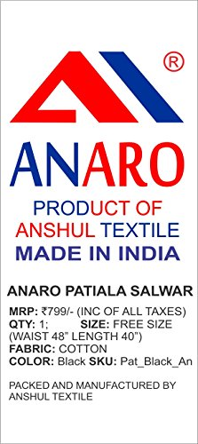 Anaro Black cotton patiala salwar(Pant) for women (Size 56W X 39L)