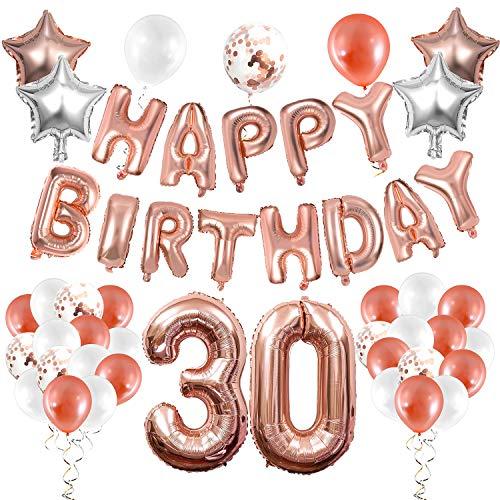 WolinTek Oro Rosa 30 Anni Compleanno Decorazioni per Donna, Palloncini Oro Rosa Festone di Palloncini Compleanno Palloncini in Lattice coriandoli Palloncini e Pendenti a Spirale