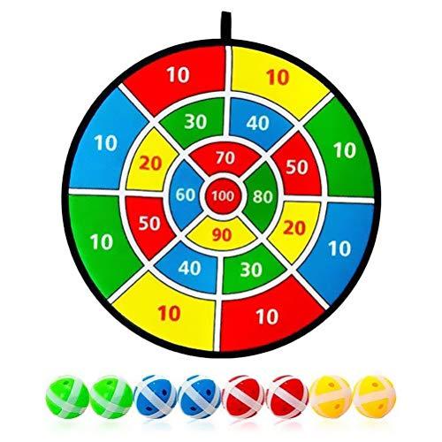 Stoff und Klett Dartscheibe Spiel, 8 Bälle mit Klettbeschichtung für festen Halt, Dart Wurf Spiel Scheibe für Groß und Klein, Klett Dartscheibe, Durchmesser 36 cm