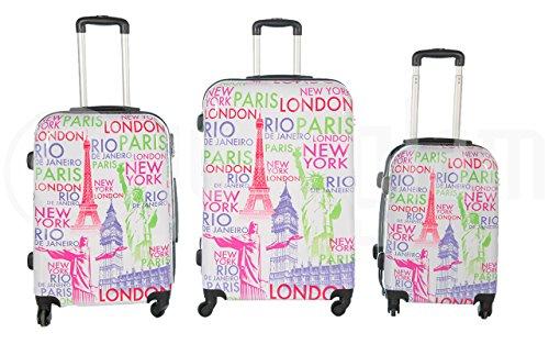Trolley valigia set valigie rigide set bagagli in policarbonato abs 4 ruote piroettanti trolley piccolo adatta per cabina con compagnie lowcost art capitali / bianco