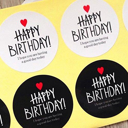creve 誕生日 バースデー Happy Birthday ラッピング ラベル ギフトシール 直径約4.0cm 2種2色 円型 光沢 防水 業務用 (300枚セット)