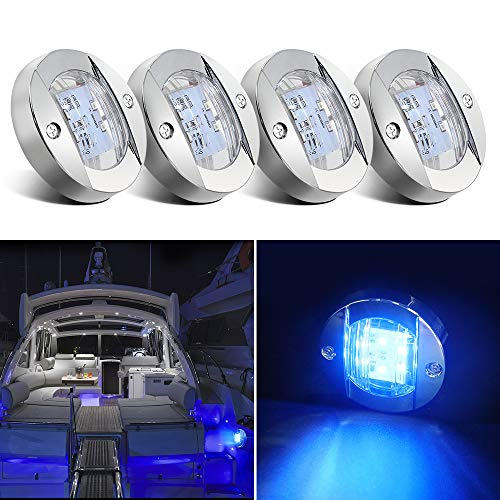 Obcursco Boat Stern Light, 12V Boat LED Transom Mount Stern Anchor Lights Light, Perfect for Night Fishing. (4Pcs, Blue)