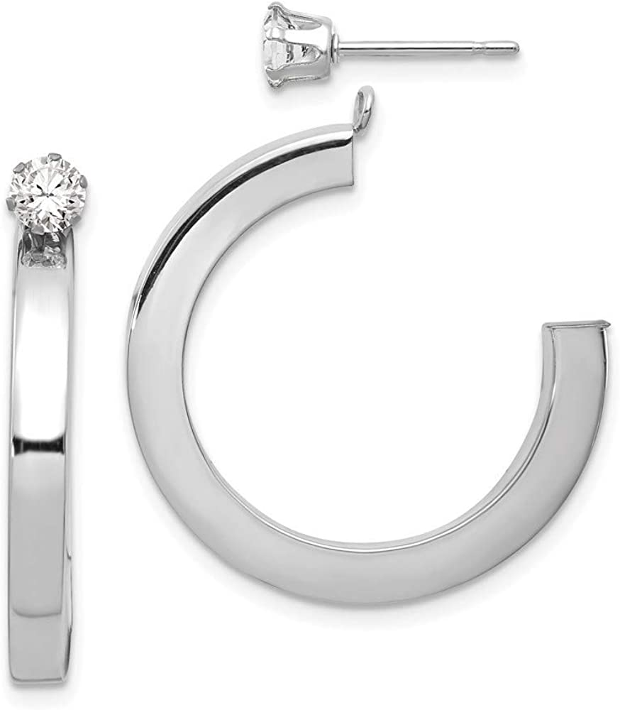 Roy Rose Jewelry 14K White Gold Polished J Hoop with CZ Stud Earring Jackets