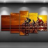 DBFHC 5 Pezzi Immagini E Stampe Artistiche su Tela Ciclismo al Mare Multicolore Legnostampe Modulari Immagini Decorazioni per La Casa Hd150X80Cm