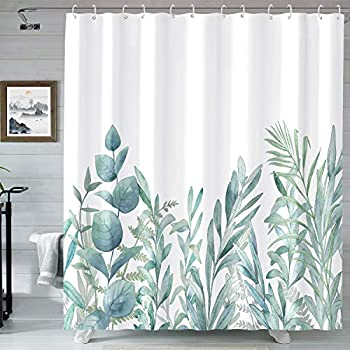 Kanuyee Fabric Shower Curtain Watercolor Floral Green Eucalyptus Pattern Botanical Shower Curtain for Bathroom 72x72 Home Decor