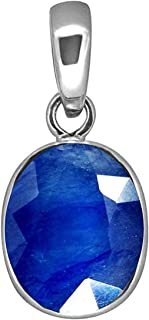 Stone Place 11.25 Ratti / 10.45 Carat Original Certified AAA++ Quality Natural Blue Sapphire Pendant/Locket Silver Plated ...