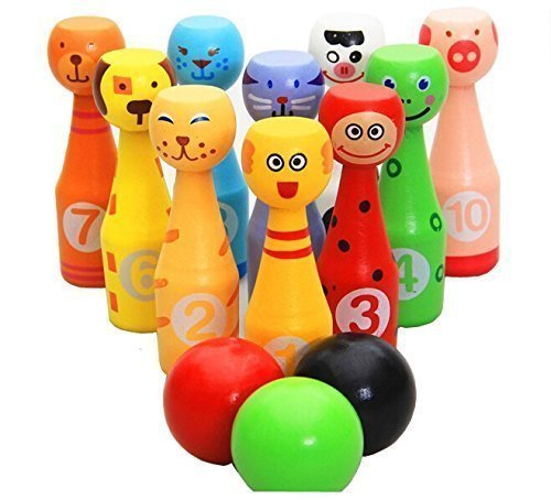 E-Kauf mini Tier Bowlingkugel Kegelspiel Bowling-Set für Kinder ab 2 Jahren