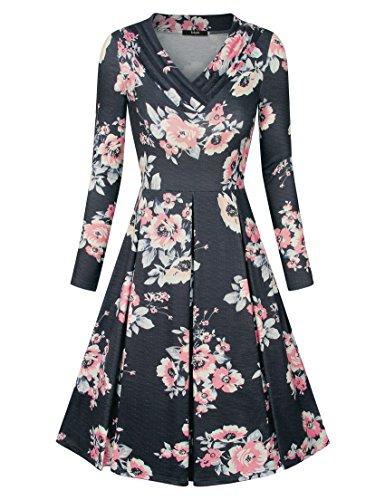 Laksmi Black Dress Plus Size, Womens Long Sleeve Fall Casual Dresses Swing Wear to Work A Line Trapeze Midi Dress,MBK S