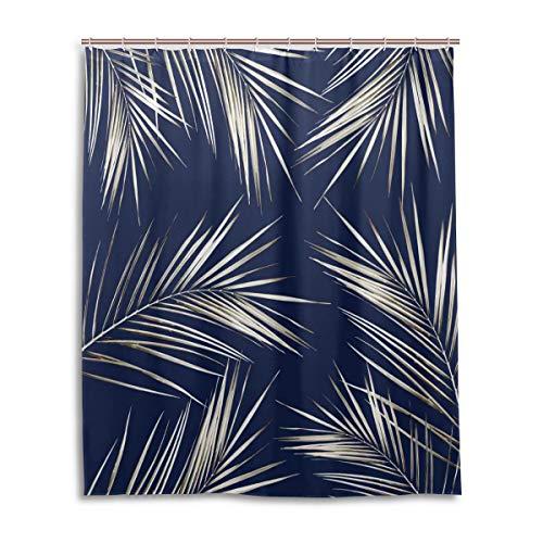 Rasyko Duschvorhang mit Palmenblättern auf Marineblau, Polyester, für Badezimmer, mit rostfreien Ösen, Weiß/goldfarben, Polyester, Mehrfarbig, 60X72inch