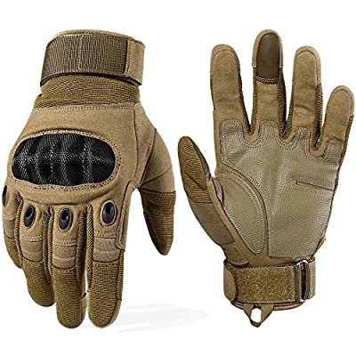 WTACTFUL Touchscreen Motorcycle Tactical Full Finger Gloves for Airsoft Paintball Cycling Motorbike ATV Hunting Hiking Riding Racing Climbing Operating Work Outdoor Sports Gloves Size Medium Brown