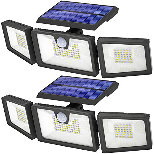 KOLYES Solar Lights Outdoor - 2 Pack, 132 LED 1000LM Bright Wireless Solar Motion Sensor Lights Outdoor with 3 Lighting Mode, Adjustable & Wide Lighting Area, IP65 Waterproof Durable LED Flood Lights