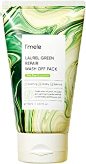 I'mele Laurel Green Repair Wash Off Mask Pack for Sensitive Skin - Hypoallergenic Soothing & Exfoliating Face Mask Pack wi...