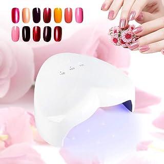 Pinsofy Herramientas de decoración de uñas con 3 ajustes de Temporizador en Forma de corazón de 18 W, lámpara de uñas UVLED, ultraportátil para Gel de extensión de Gel UV(White)