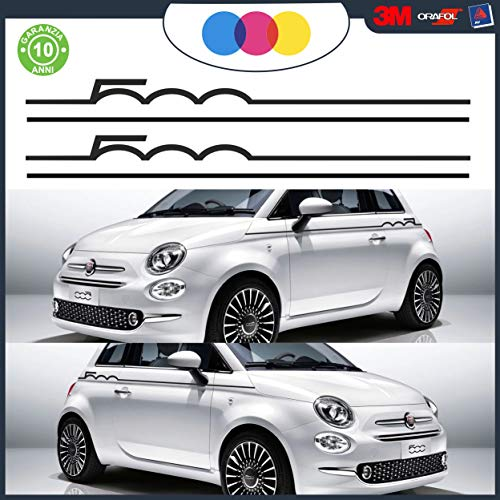 Set mit Streifen für Fiat 500 Abarth Tuning Bänder – Zubehör Stickers Decal – Seitliche Aufkleber für 500 Turbo Abarth Tuning – Ambedue die blühenden Orange 500 KIT Schwarz