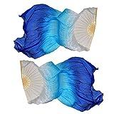Dsaren Dance Performance Silk Fans Veils Belly Dance Fan 1.5M Hand Made Silk Bamboo Fan Colorful 1 Pair(L+R) for Large-scale Performances Rehearse Entertainment (Blue)