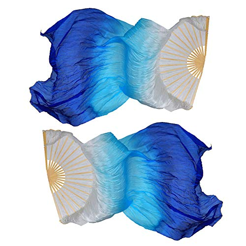 Dsaren Dance Performance Silk Fans Veils Belly Dance Fan 1.5M Hand Made Silk Bamboo Fan Colorful 1 Pair(L+R) for Large-scale Performances Rehearse Entertainment (Blue)