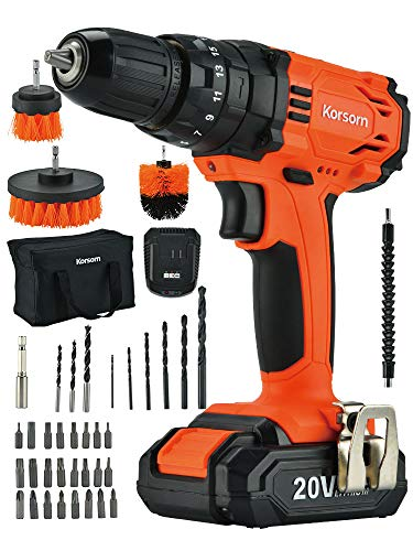 20V Cordless Drill Driver,50Pcs Accessories Electric Power Drill Set 320 in-lbs Torque, Variable Speed, 3/8 inches Keyless Chuck, Built-in LED, 2000mAh Battery and Fast Charger