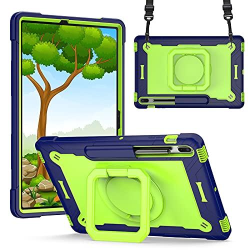 HHF Pad accesorios Para Samsung Galaxy Tab S7 FE 12.4 T730 T735, PC Pulsera de silicona Caso anti-gota Correa de hombro Soporte giratorio Sombrero protector para Samsung Galaxy Tab S7 FE 12.4 T730 T73