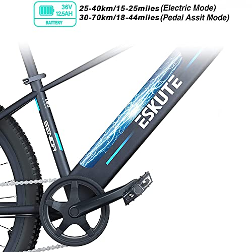 """ESKUTE Electric Mountain Bike 27.5""""E-MTB Bicycle 250W with Removable Lithium-ion Battery 36V 12.5A for Men Adults, Shimano 7 Speed Transmission Gears Double Disc Brakes"""