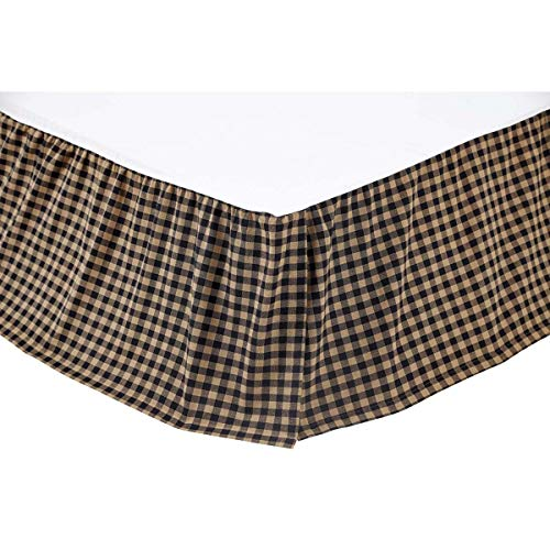 VHC Brands Black Check Queen Bed Skirt 60x80x16 Country Rustic Design, Black and Tan