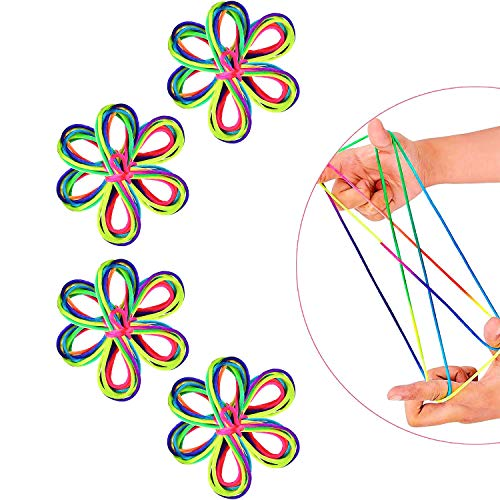LOVEXIU Skippy Dance 8 Piezas Juguetes de Habilidad De Dedos Cuerda de Arco Iris Juegos y Juego del Cordel Gatos Cuna Cuerda CordóN Arcoiris Colorido Regalo Infantil