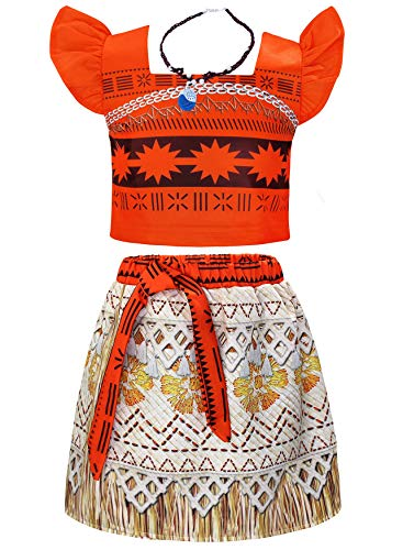 AmzBarley Toddler Girls Birthday Party Two-Piece Skirts Set Dress up Princess Costumes Preschool Role Play Cosplay Outfits Set Little Kids Ruffle Sleeve Clothes with Necklace Sie 2T(1-2Years)