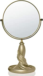 KTYXGKL European Double-Sided Desktop Makeup Mirror Resin Fashion Cute Portable Makeup Mirror Makeup Mirror (Size : L 8 inches)