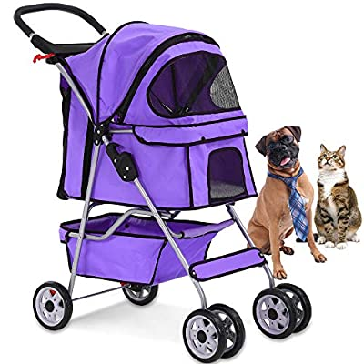 4 Wheels Pet Stroller Cat Dog Cage Stroller Travel Folding Carrier with Cup Holders and Removable Liner for Small-Medium Dog, Cat (Purple)