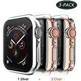 Jvchengxi for Apple Watch Series 3/2/1 38mm Screen Protector, TPU All-around Protective Case High Defination Clear Ultra-Thin Cover for Apple Watch Series 3/2/1 Smartwatch (38mm, Silver/Clear/Clear)
