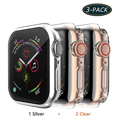 Jvchengxi Cover per Apple Watch Series 4/Series 5 44mm Custodia, Case in Morbido Silicone di Gel AntiGraffio in TPU Ultra Protettiva perApple Watch Series 4/Series 5 Smartwatch