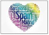 Lista de ciudades y pueblos de España, Collage de palabras nube, Ilustración - Imán clásico para nevera