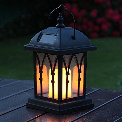 Festive Lights Schwarze Solar Laterne mit LED Kerze und täuschend echt wirkenden Flacker-Effekt
