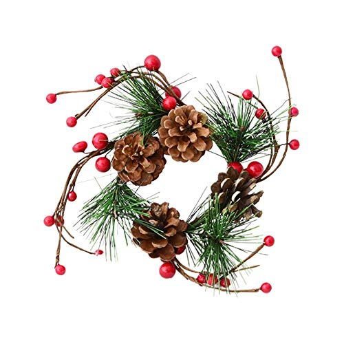 AIMERKUP Guirnalda artificial de Navidad, decoración navideña Conos de pino Branc con bayas decorativas, arcos,...