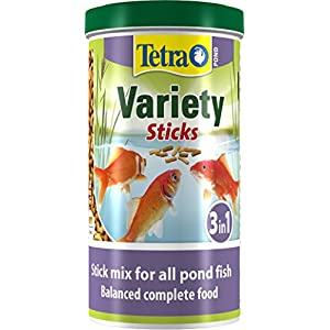 Tetra Pond Variety Sticks Fish Food, Mix of Three Different Food Sticks for All Pond Fish, 1 Litre