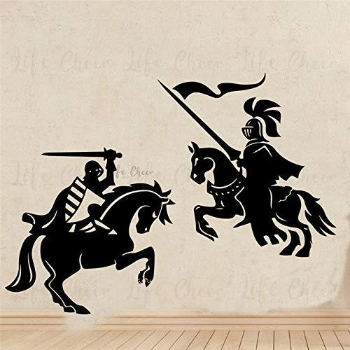 Vinyl Wandtattoo Ritter Krieger Wohnkultur Mittelalterlichen Drachentöter Wandaufkleber Pferd Solider Armee Wandkunst Wandbilder