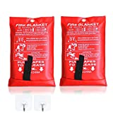 2 Pack FIRE BLANKET - Made of Fiberglass | Fire Safety Preparation |