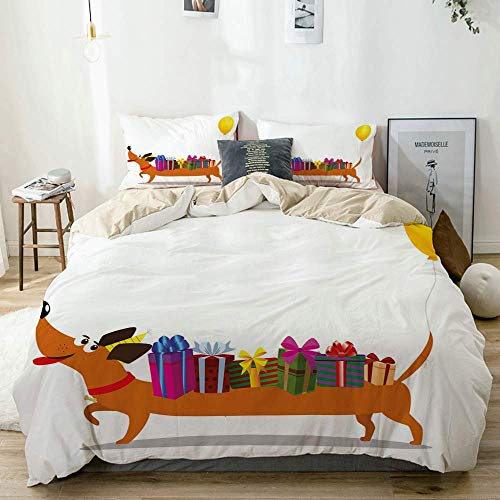 Qoqon Duvet Cover Set Beige,Nursery Themed Cartoon of Sausage Dog with Gift Boxes on Back and Balloon Tail,Decorative 3 Piece Bedding Set with 2 Pillow Shams