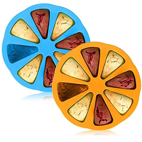 Mecmbj Bakform i silikon, 2 st kakform, 8 kakverktyg för kakor, silikon kakform, pizzaform, används för att baka bröd, kakor, pizza, gör-det-själv-patroner (Färg: Blå, gul)