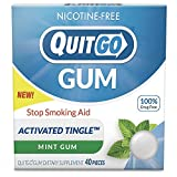 QuitGo Nicotine Free Gum Drug-Free chew-able Texture Quit Smoking Products Refreshing Natural Mint Flavor Reduce Cravings and Overcome The Urge to Smoke with Activated Tingle (Original, 40 Count)