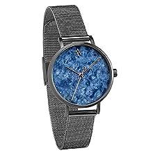 Treehut Women's Gunmetal Blue Marble Stainless Steel Watch Quartz Analog Japanese Movement Slim Watch