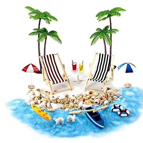 OMMO LEBEINDR Accesorios de la casa de muñecas Conjunto de Playa en Miniatura Decoración de la Playa Micro Paisaje con tumbonas Parasoles Palmera para el Verano 18pcs