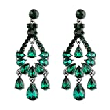 Long Art Deco Vintage Antique Retro Style Hunter Green Emerald Rhinestone Prom Pageant Statement Chandelier Earrings