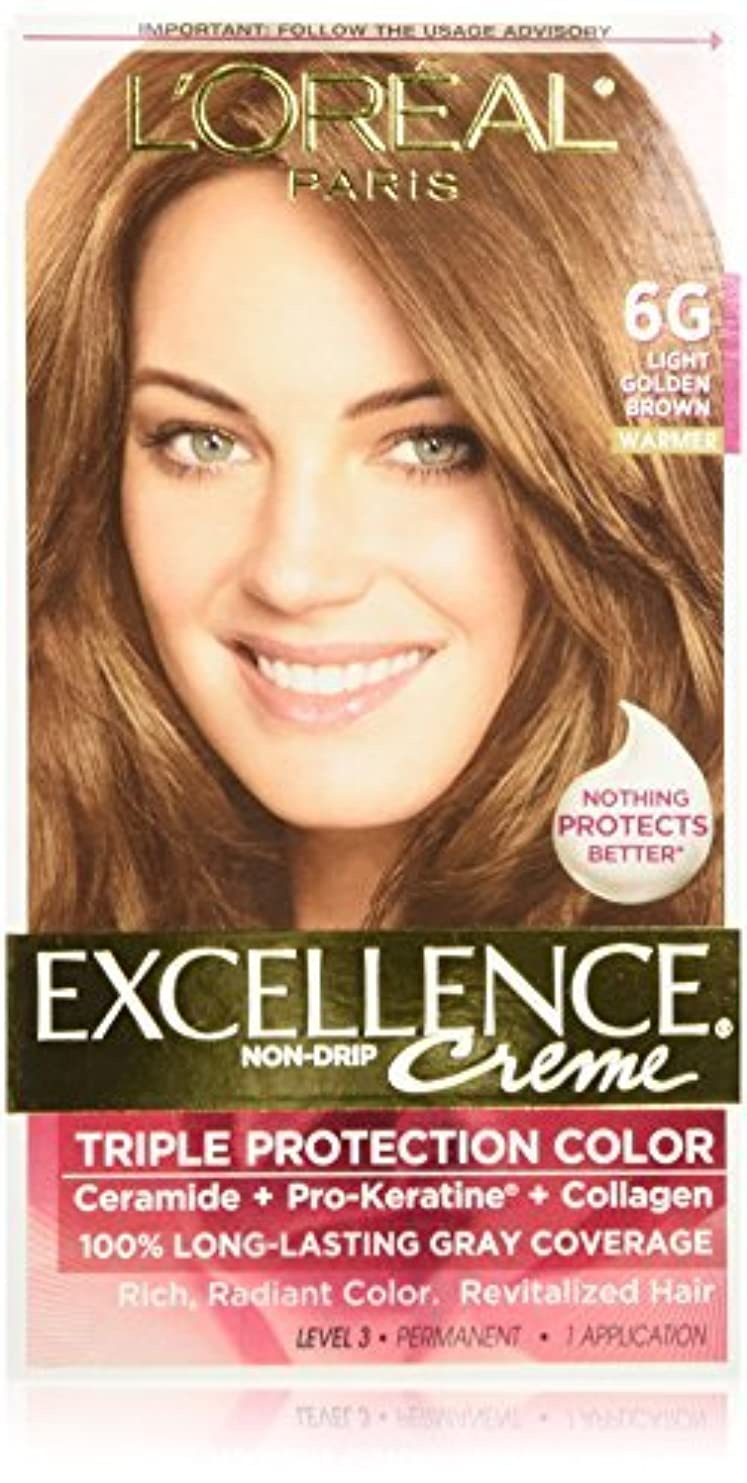 夫突き刺すドームL'Oreal Excellence Triple Protection Color Cr?Eze Haircolor, 6G Light Golden Brown by L'Oreal Paris Hair Color [並行輸入品]