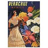 Vintage Veracruz México viaje lienzo impresión pintura cartel arte de la pared para la decoración del dormitorio de la sala de estar-50x75cm sin marco