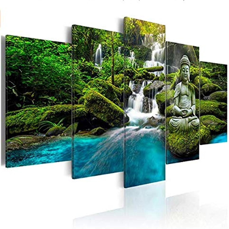 W15Y8 Murando Bilder 200X100 Cm Vlies Leinwandbild 5 Tlg Kunstdruck Modern Wandbilder Xxl Wanddekoration Design Wand Bild  Buddha Natur Landschaft Wasserfall