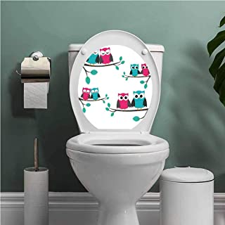 Thinkinghome Nursery self-Adhesive Couples of Owls Sitting on Spring Branches Cute Funny Cartoon Characters Resistant to Water Turquoise Blue Pink W14XL16 INCH